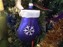 Blue Mitten with Gold Sparkles Blown Glass Ornament