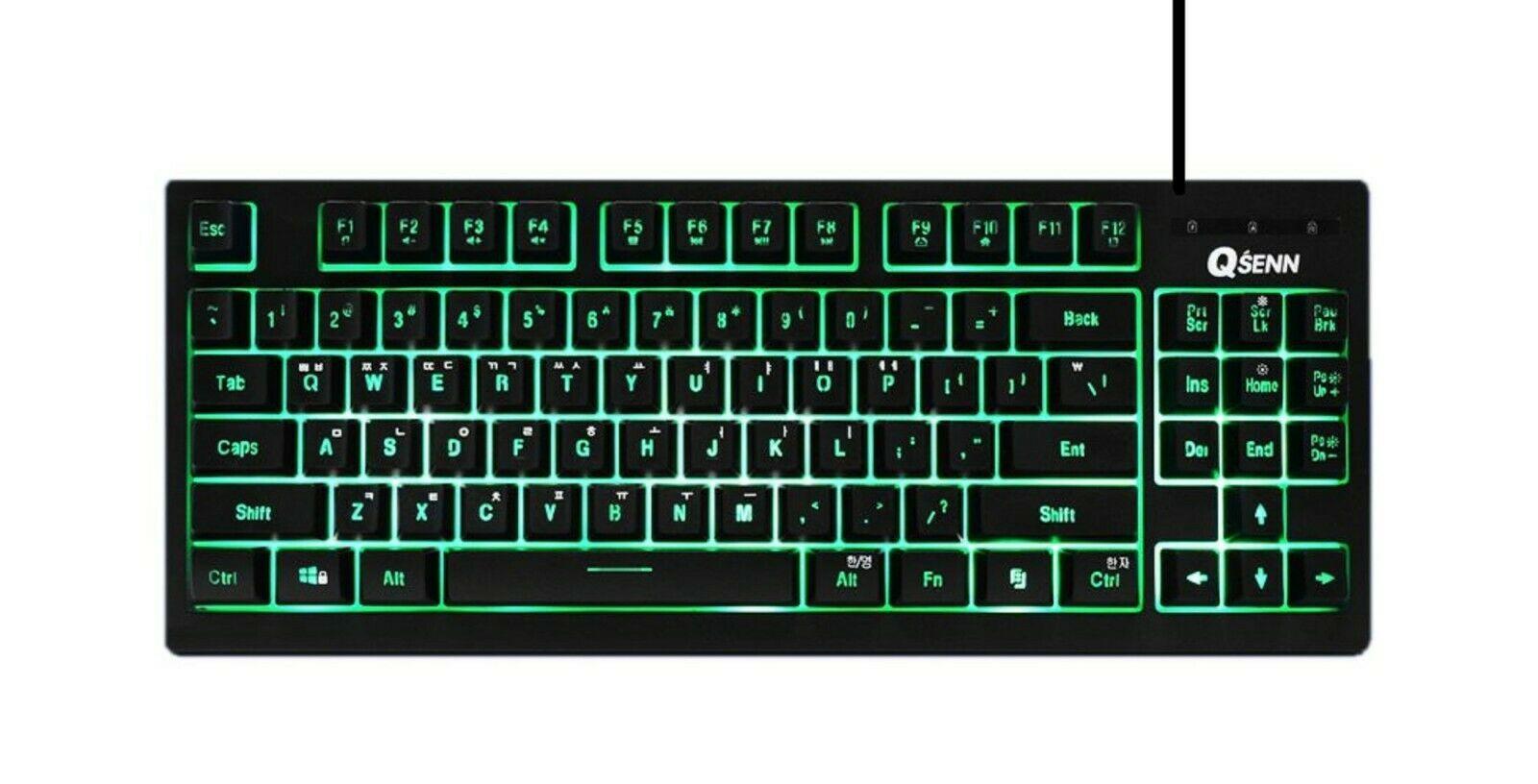 QSENN SEM-DT25T Korean English Gaming Tenkeyless Keyboard USB Wired Compact