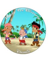 "7.5"" Jake and the Neverland Pirates Personalized Edible Icing Cake Topper, Us... - $9.99"