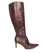 36.5/US 6 Authentic Gucci Calf Leather Rosewood Brown Point Toe Knee Hig... - £88.42 GBP