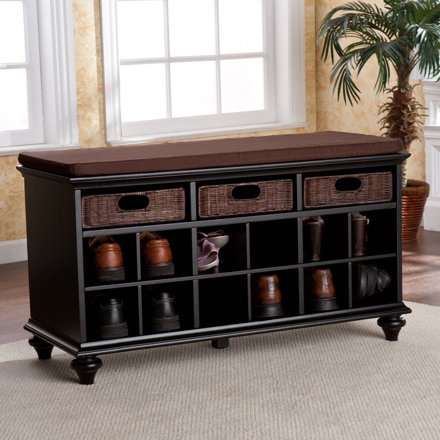 Shoe storage bench rattan drawers entryway corridor hallway hall vestibule foyer shoe organizers Entryway shoe storage bench