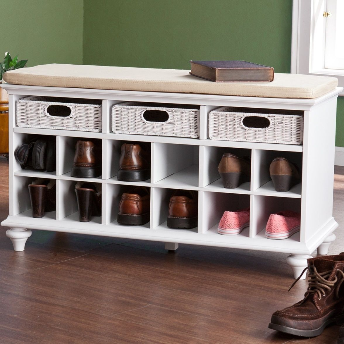 Foyer Storage Drawers : Shoe storage bench rattan drawers entryway corridor