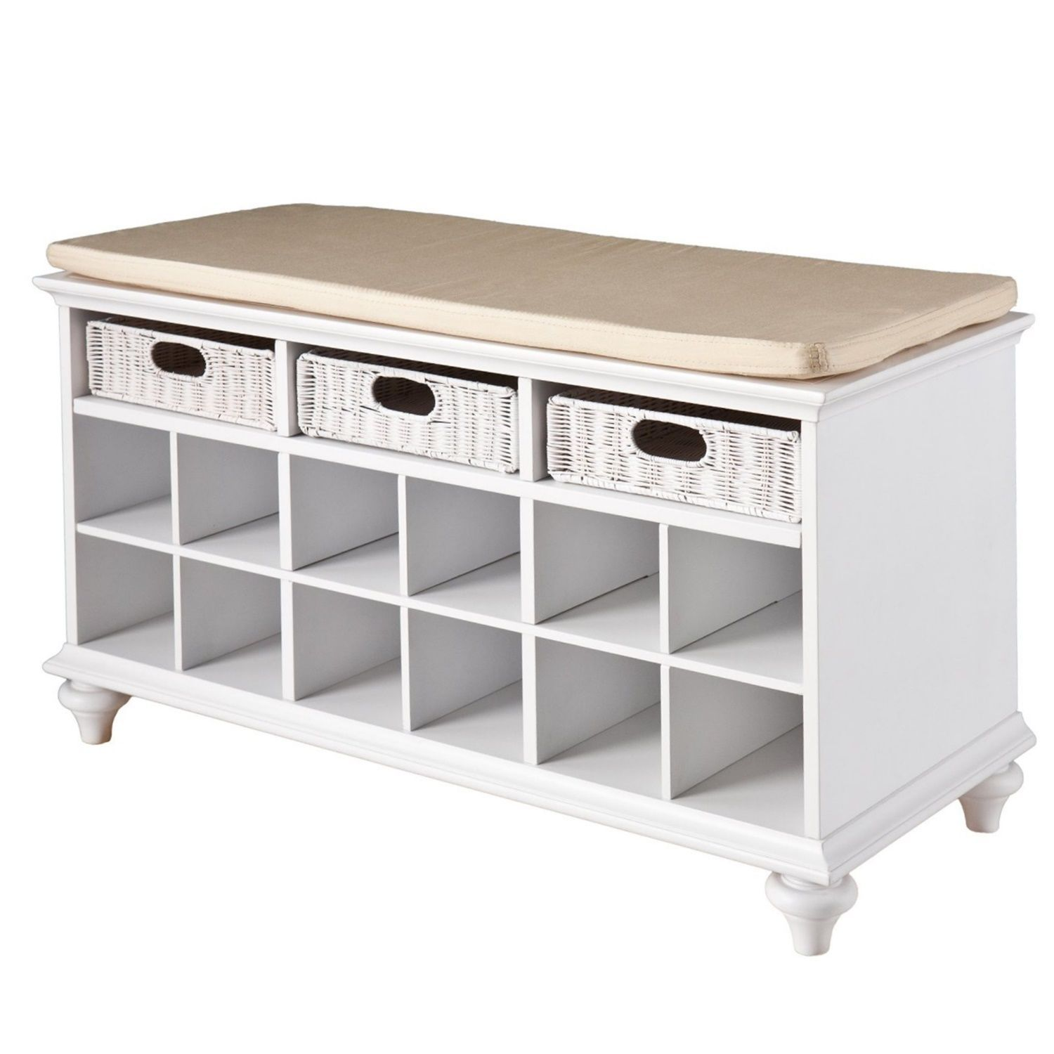 Shoe Storage Bench Rattan Drawers Entryway Corridor