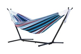 Vivere Double Hammock Steel Stand Patio Picnic Garden Denim stripe Furni... - $163.58