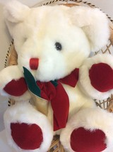 Valentine's White And Red Bear Sitting in a Chair with a Red Rose. Plush... - $14.95
