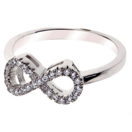 Sterling Silver Ring size 7 CZ Infinity Engagement Eternity Wedding New 925 v60 - $12.49