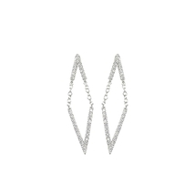 Dainty+Fun Clear AAA CZ Double V Chain Dangle Earrings Rhodium Plated-Glitzy - $34.99