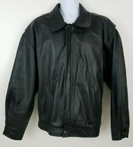 Retro Pepsi Vintage 90s Genuine Leather Black Moto Jacket Size XL - $60.58