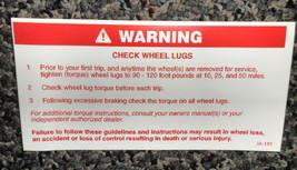 RV Information Decal Warning : Check Wheel Lugs  #0182179 - $5.87