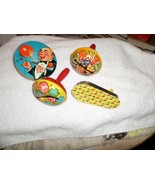 4 Vintage New Year's Eve NOISEMAKERS Tin Lithograph 3 by T Cohn Inc Made... - $34.65