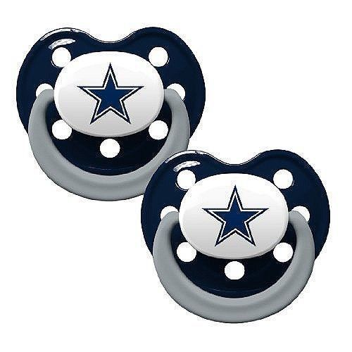 DALLAS COWBOYS 2-PACK BABY INFANT ORTHODONTIC PACIFIER SET NFL FOOTBALL
