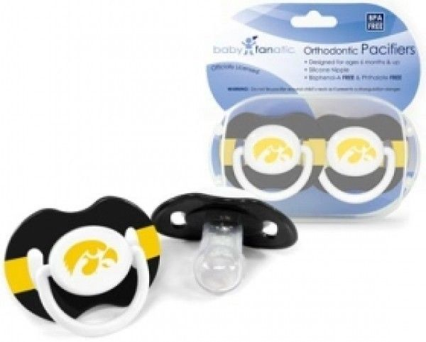 IOWA HAWKEYES 2-PACK BABY INFANT ORTHODONTIC PACIFIER SET NCAA