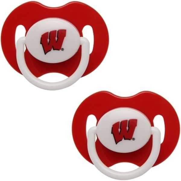 WISCONSIN BADGERS 2-PACK BABY INFANT ORTHODONTIC PACIFIER SET NCAA