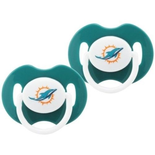 MIAMI DOLPHINS 2-PACK BABY INFANT ORTHODONTIC PACIFIER SET NFL FOOTBALL