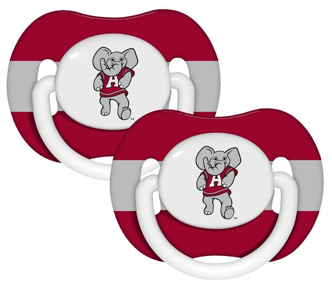 ALABAMA CRIMSON TIDE 2-PACK BABY INFANT ORTHODONTIC PACIFIER SET NCAA