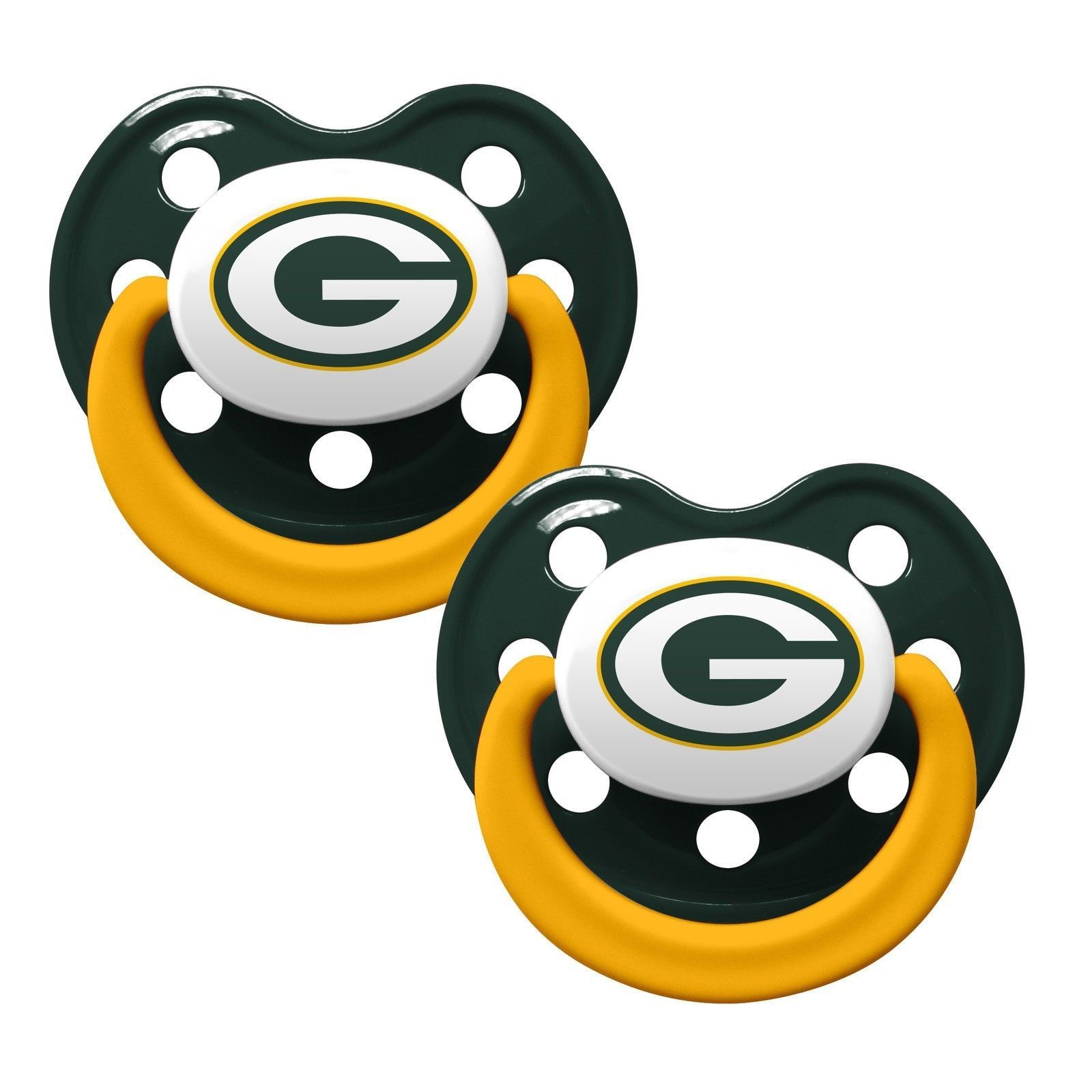 GREEN BAY PACKERS 2-PACK BABY INFANT ORTHODONTIC PACIFIER SET NFL FOOTBALL