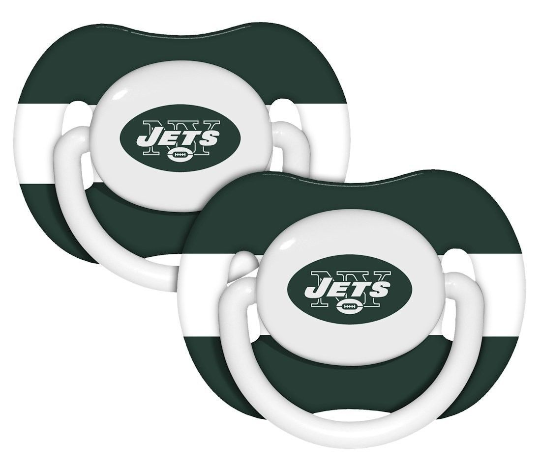 NEW YORK JETS 2-PACK BABY INFANT ORTHODONTIC PACIFIER SET NFL FOOTBALL
