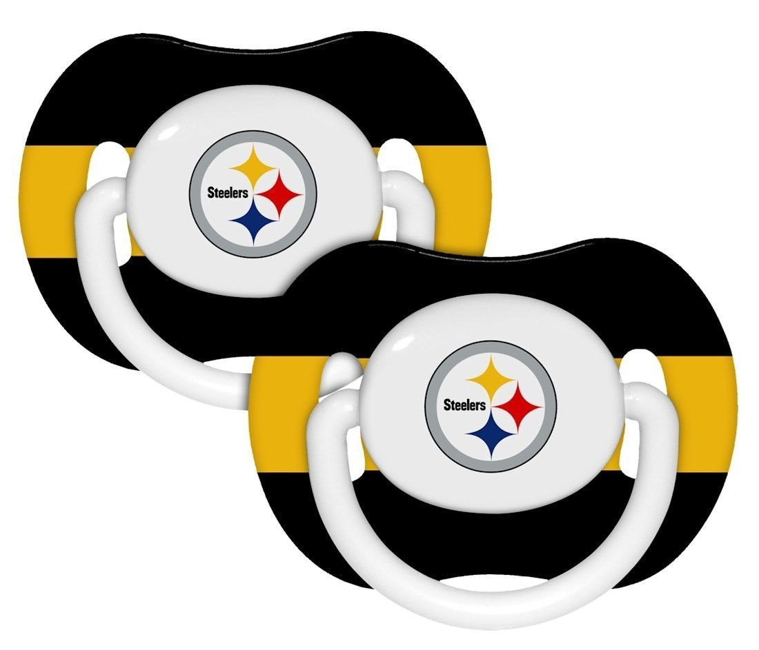 PITTSBURGH STEELERS 2-PACK BABY INFANT ORTHODONTIC PACIFIER SET NFL FOOTBALL