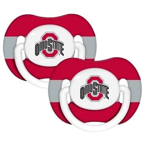 OHIO STATE BUCKEYES 2-PACK BABY INFANT ORTHODONTIC PACIFIER SET NCAA