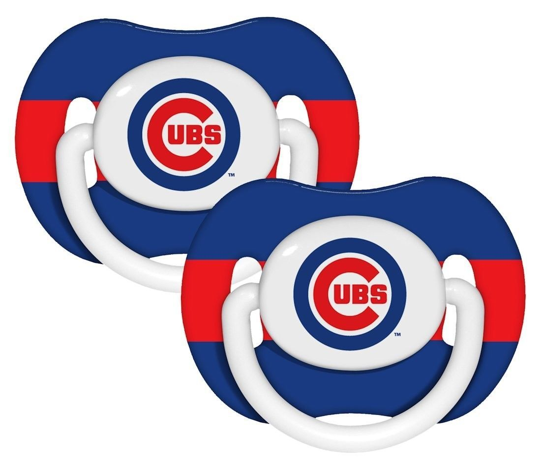 CHICAGO CUBS 2-PACK BABY INFANT ORTHODONTIC PACIFIER SET SET  MLB BASEBALL