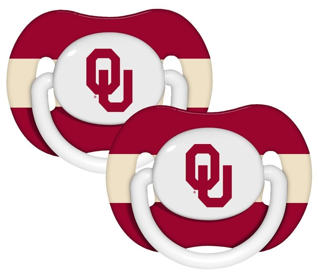 OKLAHOMA SOONERS 2-PACK BABY INFANT ORTHODONTIC PACIFIER SET NCAA