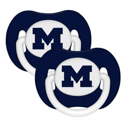 MICHIGAN WOLVERINES 2-PACK BABY INFANT ORTHODONTIC PACIFIER SET NCAA