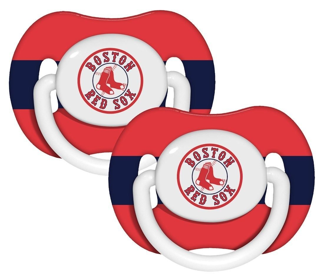 BOSTON RED SOX 2-PACK BABY INFANT ORTHODONTIC PACIFIER SET MLB BASEBALL