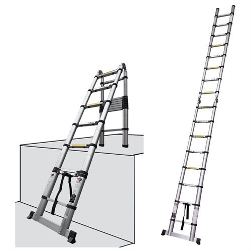 16.5 Ft Aluminum Telescopic Ladder Telescoping A-Type Extension Multi Purpose