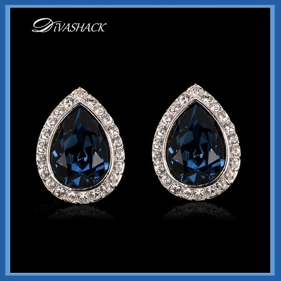 Austrian Blue Crystal Tear Rhinestone Earrings 925 Sterling Silver Stud Ear Ring
