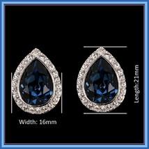 Austrian Blue Crystal Tear Rhinestone Earrings 925 Sterling Silver Stud Ear Ring image 2