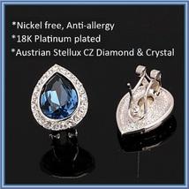 Austrian Blue Crystal Tear Rhinestone Earrings 925 Sterling Silver Stud Ear Ring image 3
