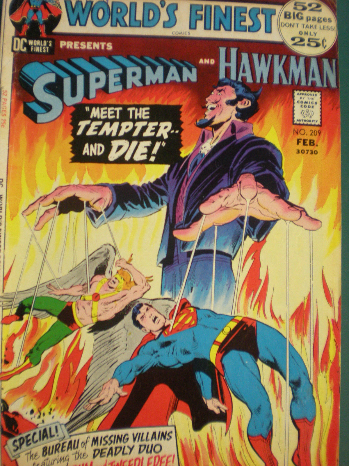 Primary image for Superman and Hawkman Feb 209 Vintage Classic Comic A Real Gem!