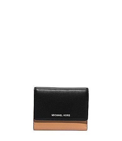 Primary image for Michael Kors Colby Medium Trifold Wallet Suntan/black