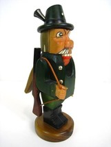 Hand Carved Etzgebirge Nutcracker Green Hunter Figure West Germany - $186.77
