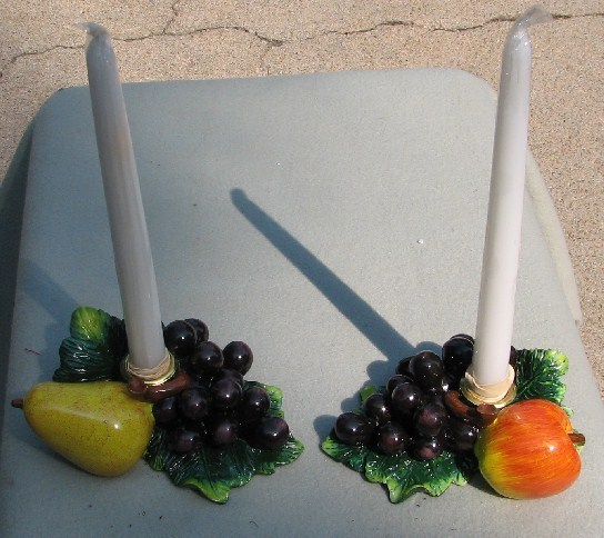 Grapes, Pear and Apple Alabastrite candlestick holders