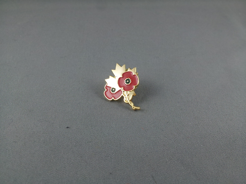 Primary image for Older Canadian Remeberance Day Pin - Gold Maple Leaf with 2 Poppies