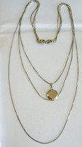 "SILVER TONE 3 CHAIN CASCADE NECKLACE PICTURE LOCKET PENDANT 19""L - $19.20"
