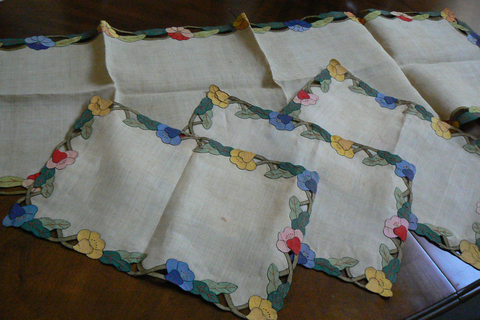 VTG Set of 3 Placemats & Table runner applique Embroidery Cutout Floral Brown - $75.00