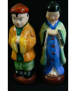VINTAGE JAPAN OPIENTAL MAN & WOMEN COUPLE SALT & PEPPER SHAKERS - $31.20