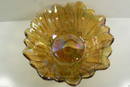 Indiana Carnival Golden Amber iridized Marigold Sunflower Glass Candy Di... - $59.00