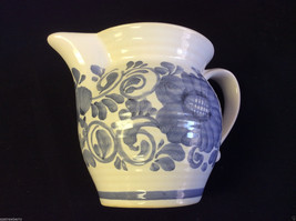Gmundner Keramik Austria  blue on white floral ceramic small pitcher cre... - $39.00