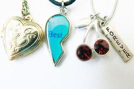 Lot of 3 Best friends half heart cherry locket pendants necklaces - $11.99