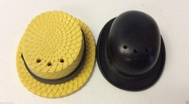 Vintage yellow & black Plastic Derby Straw Hat ... - $16.80
