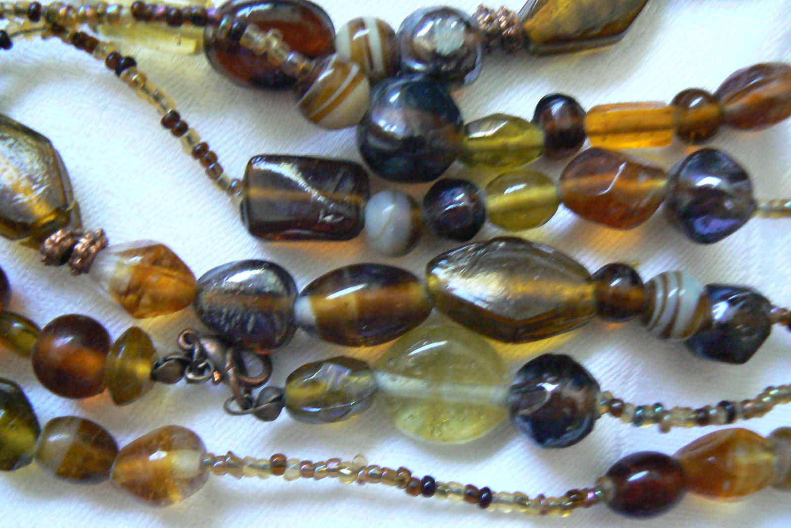 "Primary image for AMBER COLOR ART GLASS BEADS STRAND NECKLACE 60""L"