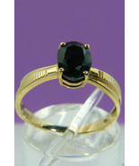 Simply Classic 10k yellow gold Oval cut Sapphire Fantastic Ring Sz 8  fr... - $159.20