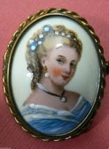 Vintage Limoges France Porcelain Pin Brooch oval framed Pretty Lady Picture - $152.10