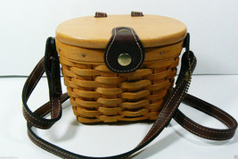 Longaberger Woodcrafts Handwoven Saddlebrook Basket Purse Bag w shoulder Strap - $89.00