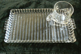 Great Depression Vintage Hazel Atlas Orchard Pattern Bead & RIbs Cup & Tray set - $30.00