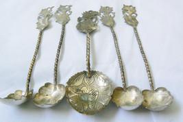 Vintage Sterling Silver 800 twisted handle leaf Siam dancer set of 5 Spoons - $189.00