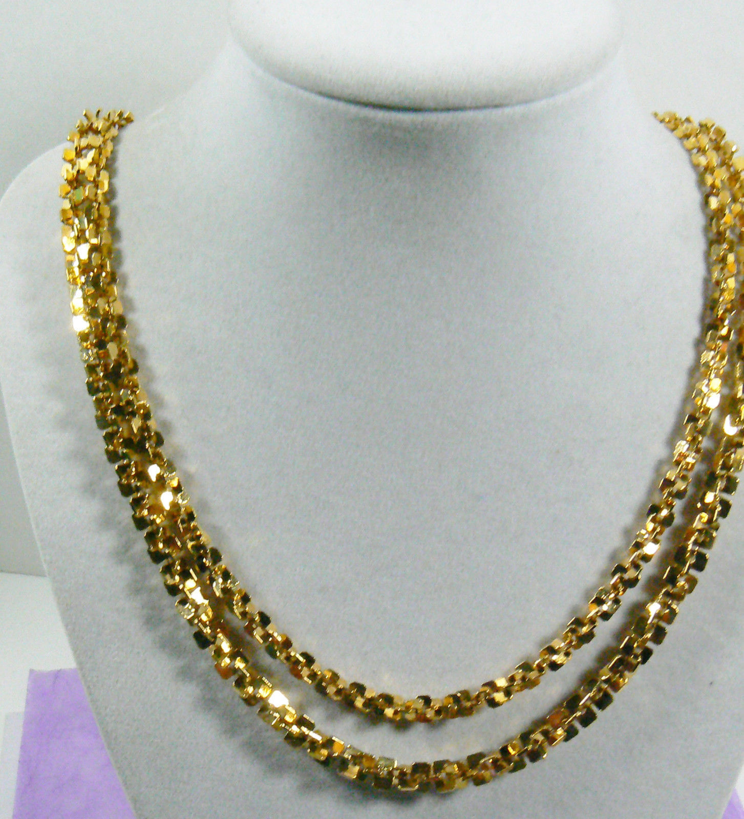 "Primary image for FASHION GOLD TONE METAL TWO CHAINS NECKLACE 23.5""L"